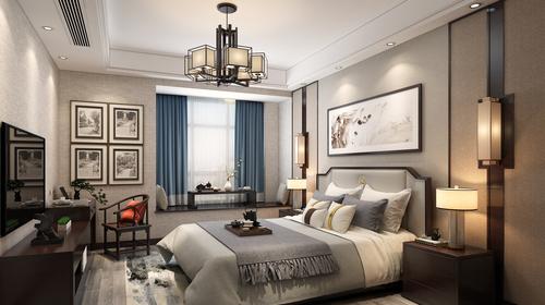 新中式效果图卧室